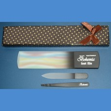 BOHEMIA pánská dárková sada - pinzeta + sklenená škrabka na päty 160/8mm a malý pilník 90/2mm Pre pánov