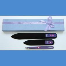 BOHEMIA dárková sada skleněných pilníků Swarovski 2SW +pinzeta fialový motiv Pinzety a sady