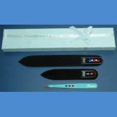 BOHEMIA Swarovski 2SW gift pack glass nail files + tweezer blue pattern No. 22 Tweezers and sets