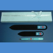 BOHEMIA Swarovski 2SW gift pack glass nail files + blue motive tweezer Tweezers and sets