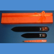 BOHEMIA Swarovski 2SW gift pack glass nail files + orange motive tweezer Tweezers and sets