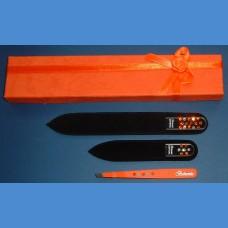 BOHEMIA darčeková sada sklenených pilníkov Swarovski 2SW + pinzeta oranžový motív Pinzety a sady