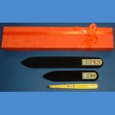BOHEMIA dárková sada skleněných pilníků Swarovski 2SW +pinzeta žlutý motiv Pinzety a sady