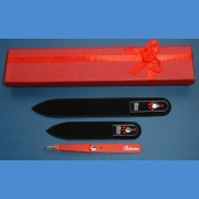 Swarovski 2SW gift pack glass nail files + red motive tweezer Tweezers and sets